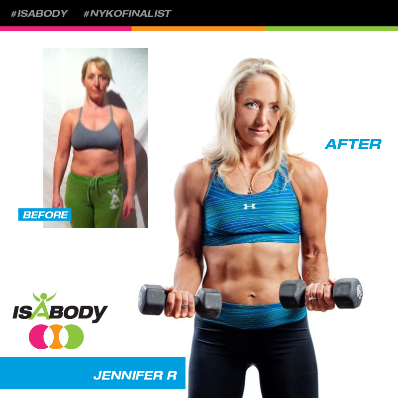 Jennifer before and after photos. She used Isagenix 30 day sytem to lose weight.