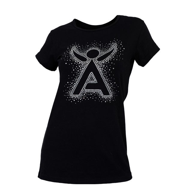 Ladies Black Scoop Neck Bling Tee