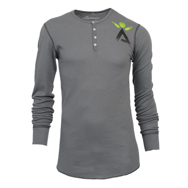 Men's Grey Long Sleeve Henley
