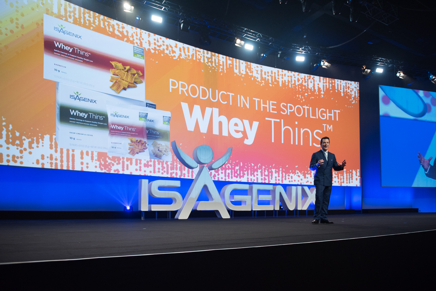 Jim Coover, Co-Founder and Chief Executive Officer, Launches Whey Thins White Cheddar from Stage at NYKO 2017