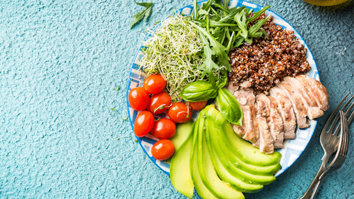 colorful plate of food for healthy variety