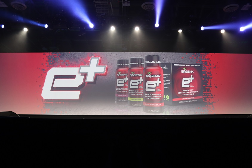 Two new flavors of e+ energy shot launched from stage at Celebration 2017.