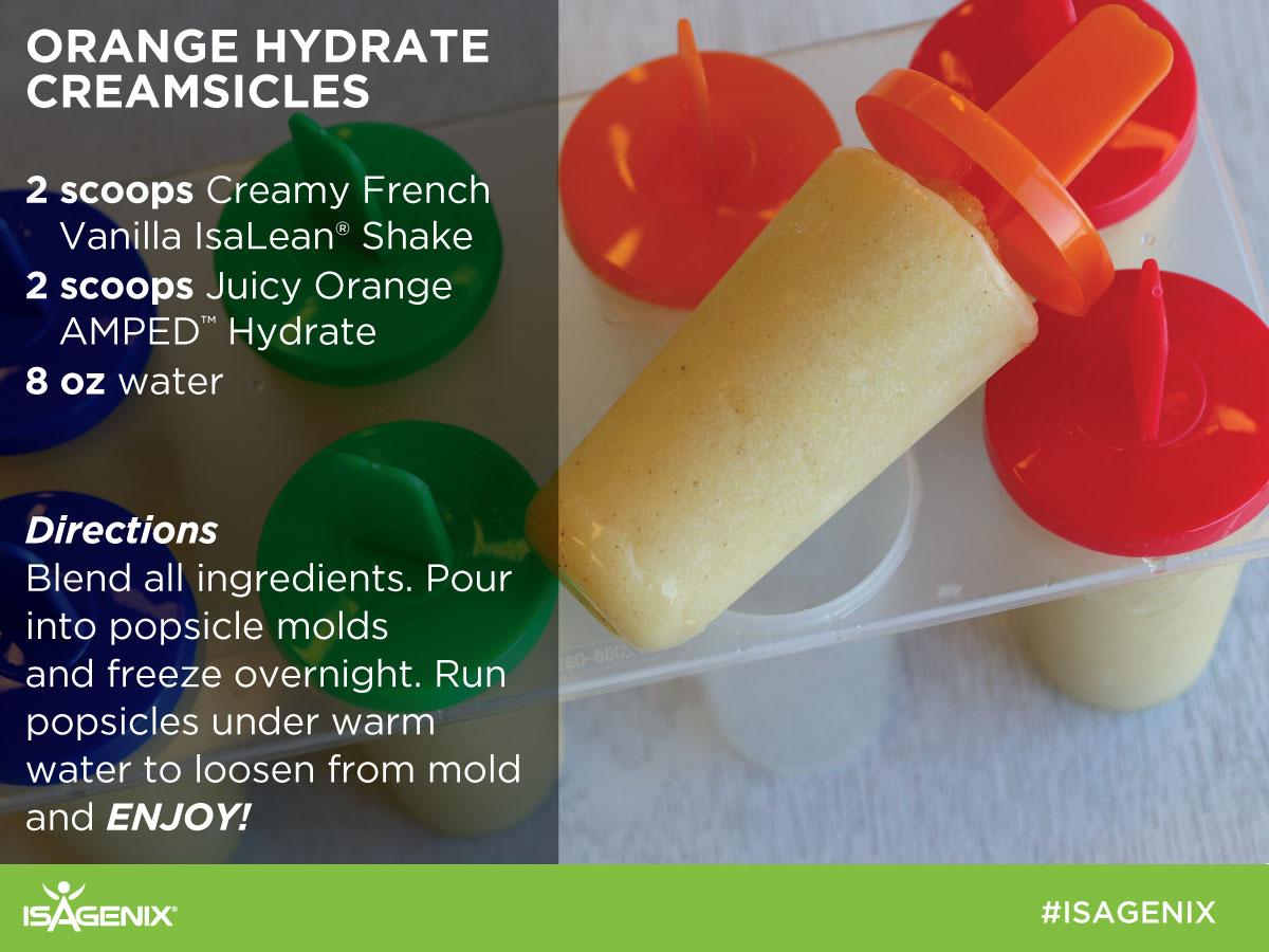 Juicy Orange AMPED Hydrate with Creamy French Vanilla IsaLean Shake