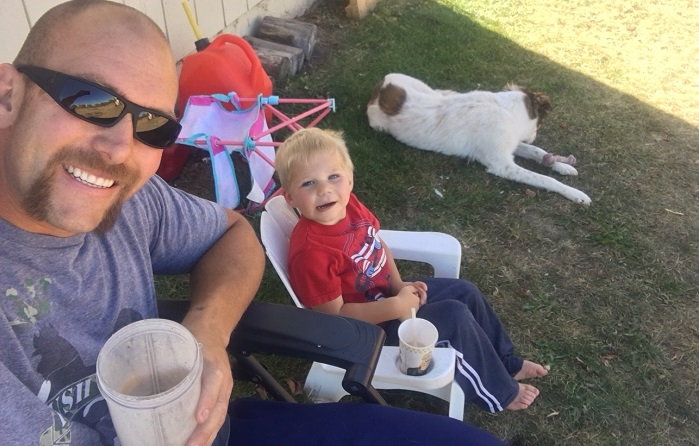 Justin and His Son Enjoy an IsaLean® Shake