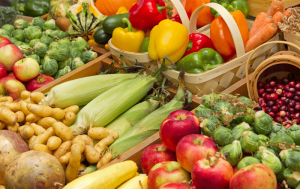 Brightly colored fruits and vegetables in baskets