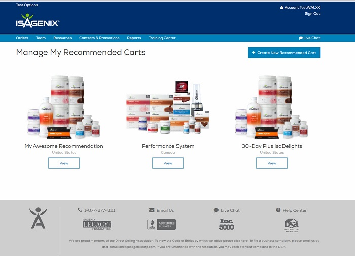 Recommended Carts Page on the Isagenix IsaLife™ App
