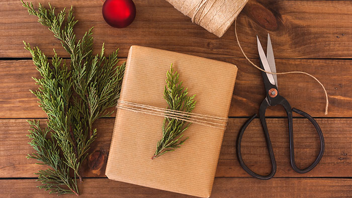Wrap your gifts in homemade paper and bows