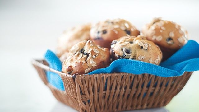 Blueberry oat muffins in a basket
