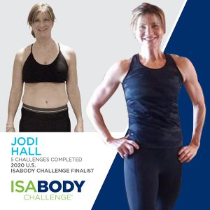 Before and after photos of Jodi Hall, 2020 U.S. IsaBody Challenge Finalist