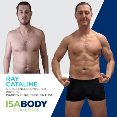 Before and after photos of Ray Cataline, 2020 U.S. IsaBody Challenge Finalist