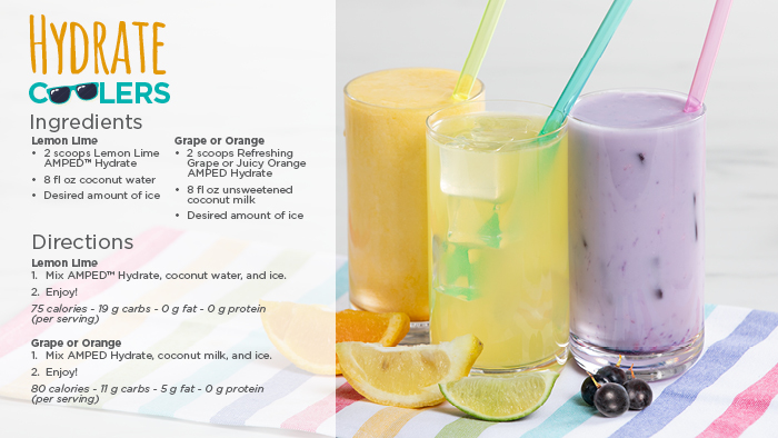 Hydrate Coolers recipe with ingredients and directions, featuring an image of three glasses of a Lemon Lime and Grape or Orange drink with their fruits on a blanket