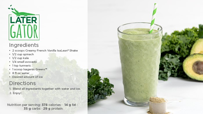 Later Gator recipe with the ingredients and directions, featuring a glass with a green shake concoction with avocado and kale on the side and a scooper with protein powder