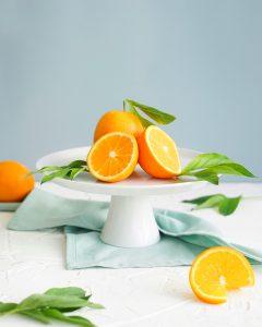 Sliced oranges on a table