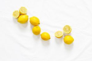 Lemons on a white table