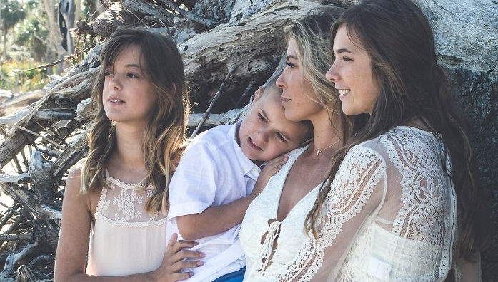 Christie Nix with her two daughters and son.