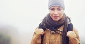 Woman hiking in the snow