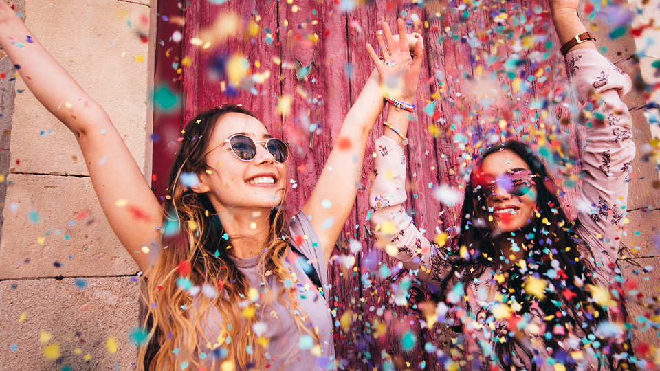 girls throwing confetti, happy, vision, dreams, party