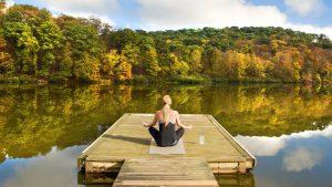 fall, woman doing yoga, lake
