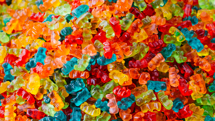 A pile of colorful gummy bears
