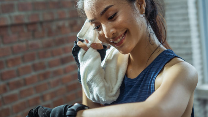 woman sweating after work out