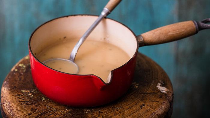 Saucepan with bone broth chicken gravy