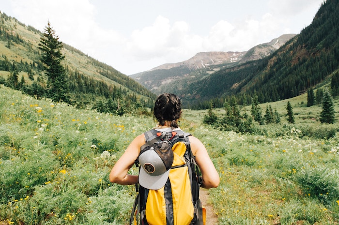 Photo of woman's back with her hat and backpack as she hikes through greenery
