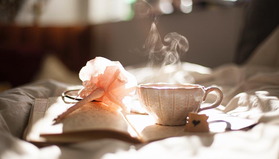 diary and tea