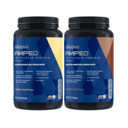2 canisters of AMPED Tri-Release Protein