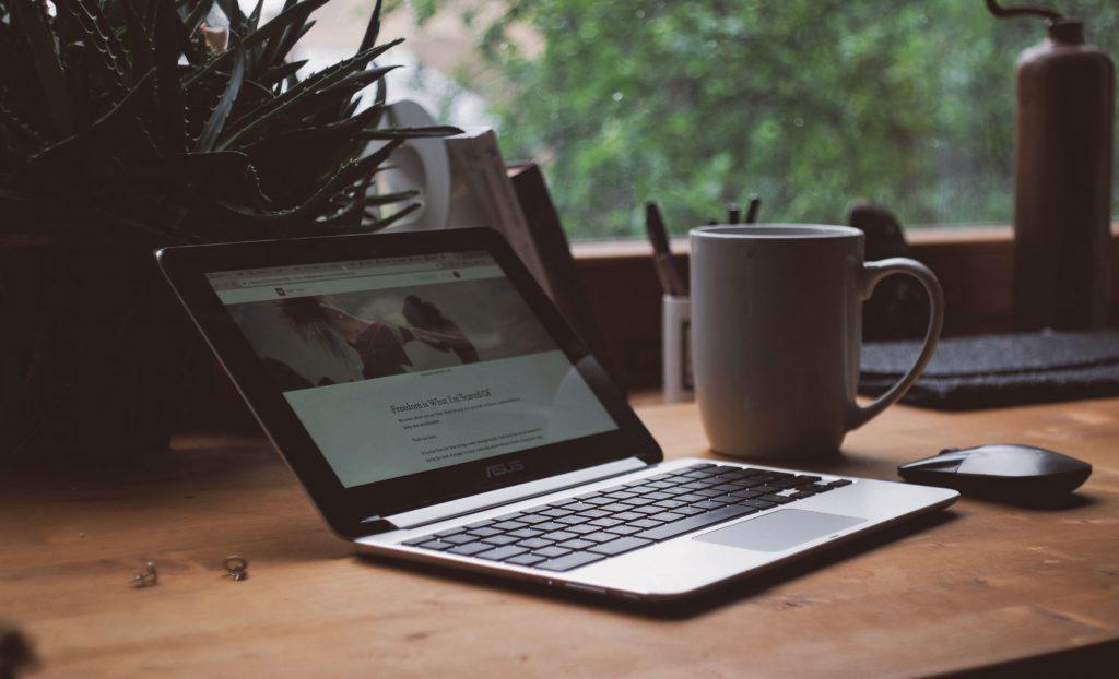 computer with mug