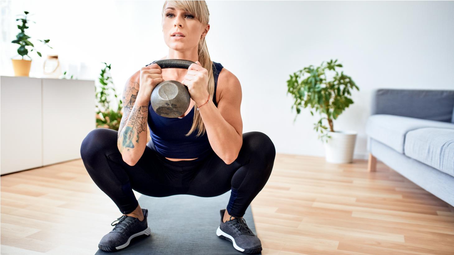woman doing a kettlebell workout