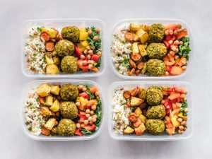 Tupperware with meal-prepped food
