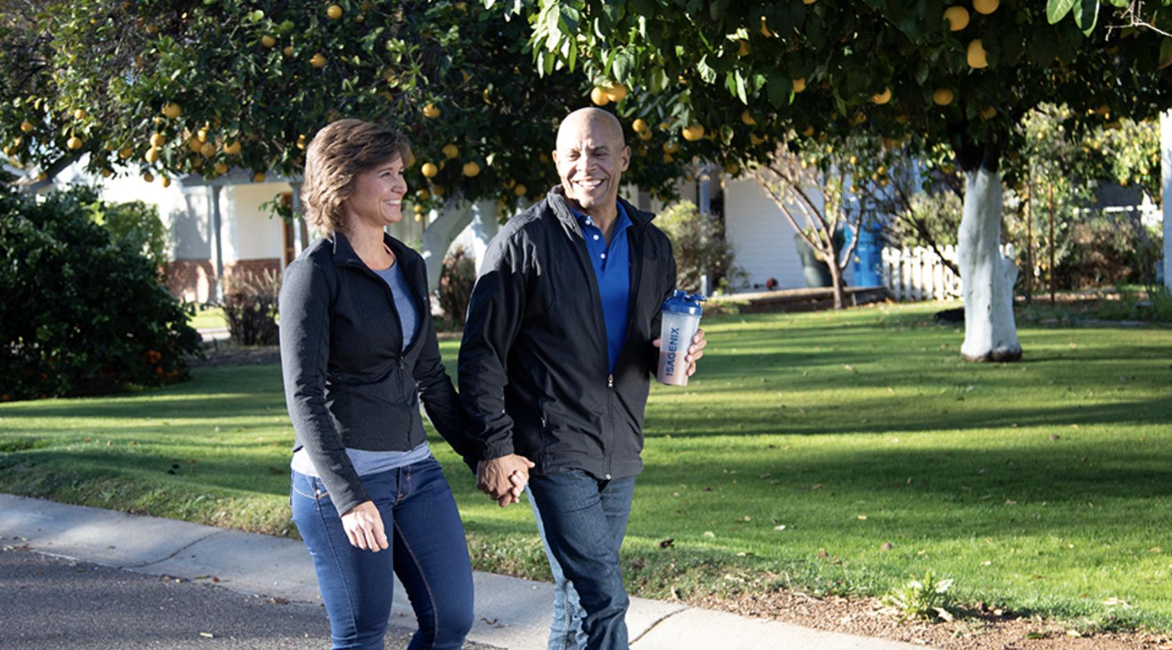 Couple walking outside
