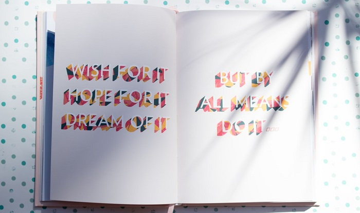 notebook with wording