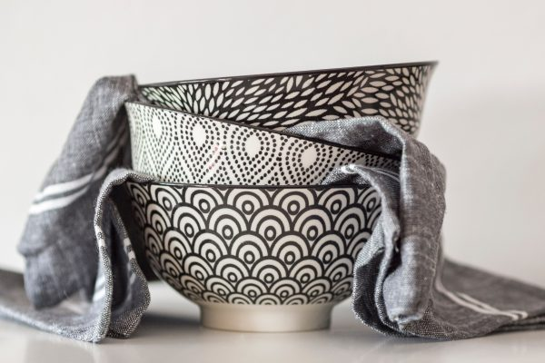 Black and white patterned bowls