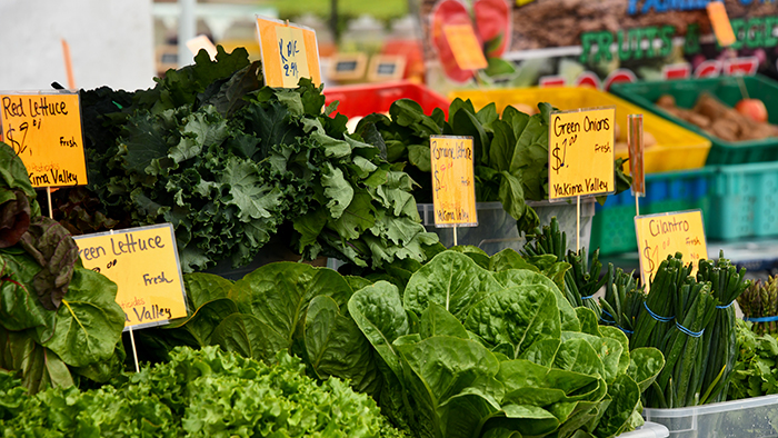 Leafy green vegetables at a grocery store