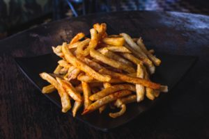Lazy Day - Fries on Black Plate