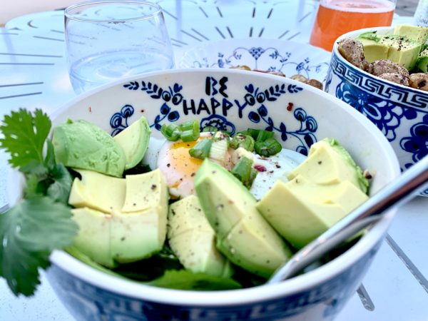 Large chunks of avocado in an egg protein bowl