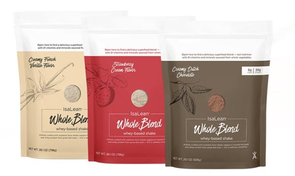 3 bags of Whole Blend IsaLean Shake in different flavors