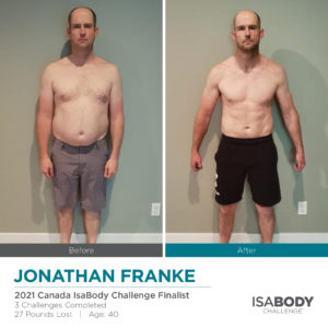 Before and after photos of Jonathan Franke
