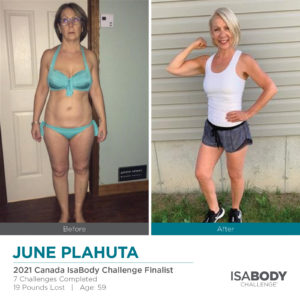 Before and after photos of June Plahuta