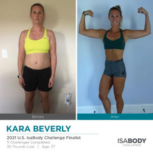 Before and after photos of Kara Beverly