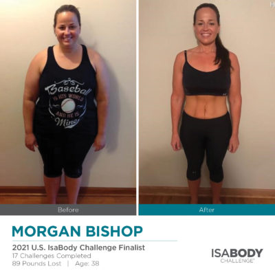Before and after photos of Morgan Bishop