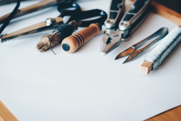 Tools on a piece of blank paper