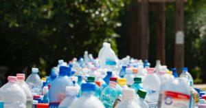 Plastics-Green_Bottles in foreground