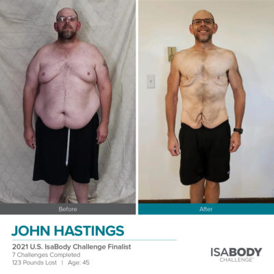 John Hastings 2021 U.S. IsaBody Challenge Finalist before and after photos