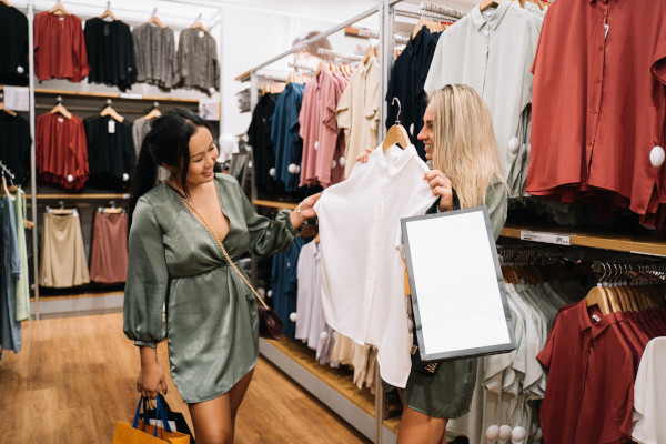 Two women going shopping for clothes together